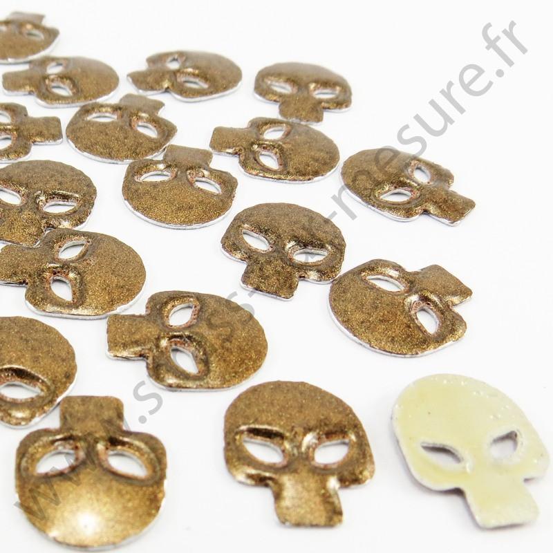 Strass thermocollant en métal tête de mort - Métal bronze nacré