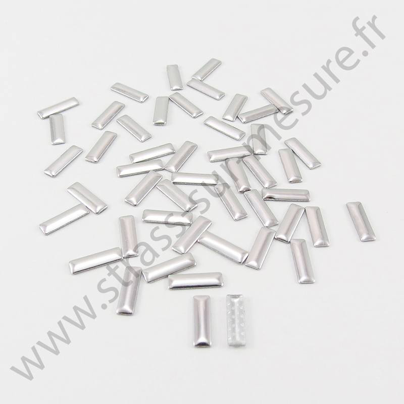 Strass thermocollant en métal rectangle - Argent