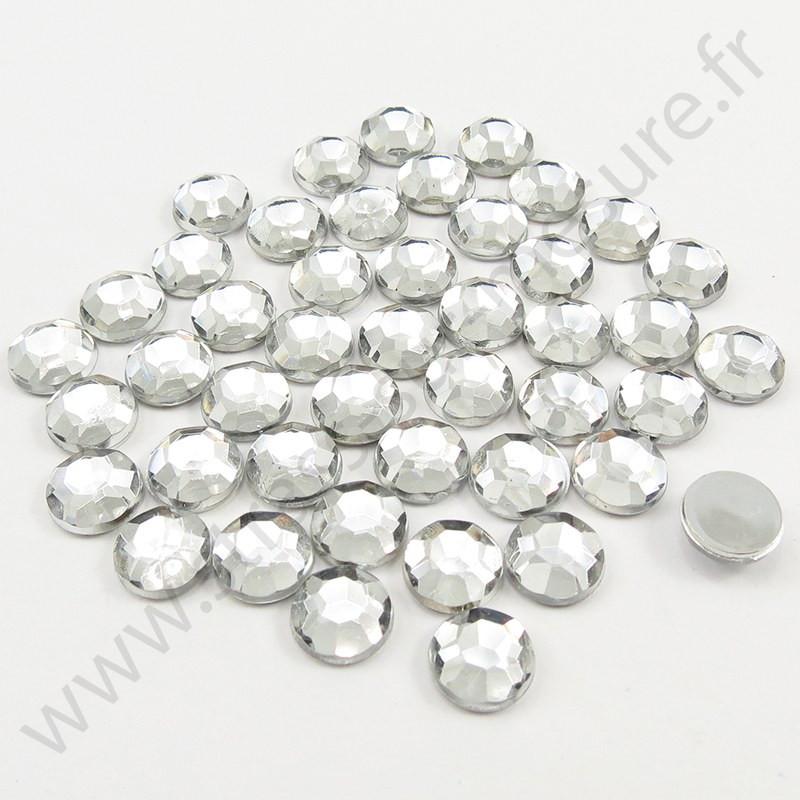 Strass acrylique rond à facettes à coller - Diamant - 2mm à 10mm
