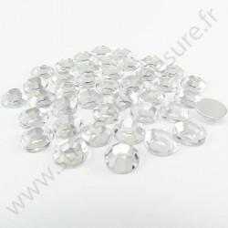 Strass acrylique rond à facettes à coller - Diamant - 10mm