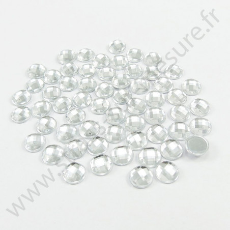 Strass acrylique rond effet quadrillage à coller - Diamant - 5mm à 16mm