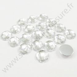 Strass acrylique rond effet quadrillage à coller - Diamant - 16mm