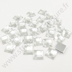 Strass acrylique carré effet quadrillage à coller - Diamant - 10mm