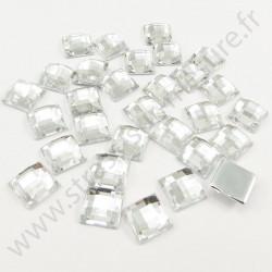 Strass acrylique carré effet quadrillage à coller - Diamant - 12mm