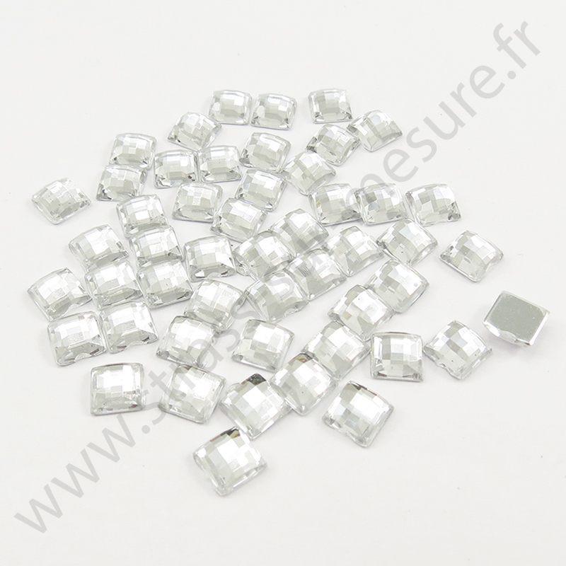 Strass acrylique carré effet quadrillage à coller - Diamant - 6mm