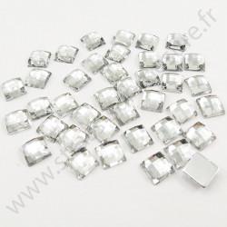 Strass acrylique carré effet quadrillage à coller - Diamant - 8mm