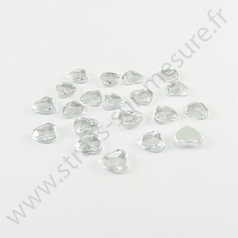Strass acrylique coeur à facettes à coller - Diamant - 6mm