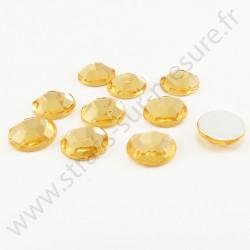 Strass acrylique rond à facettes à coller - Doré clair - 10mm