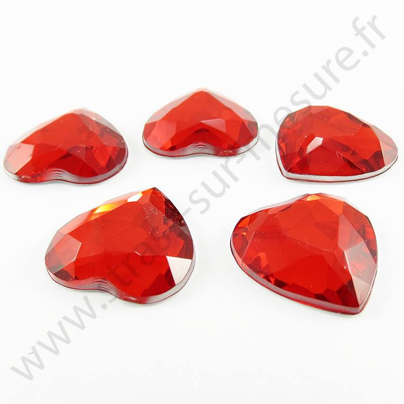 Strass acrylique coeur à facettes à coller - Rouge - 18mm