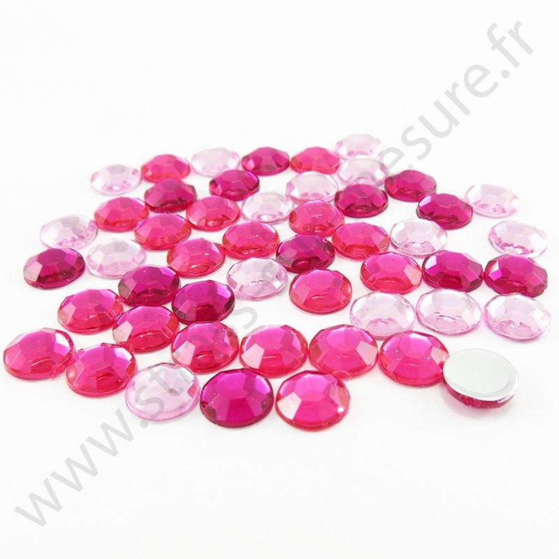 Strass acrylique rond à facettes à coller - Mix Rose - 5mm, 7mm