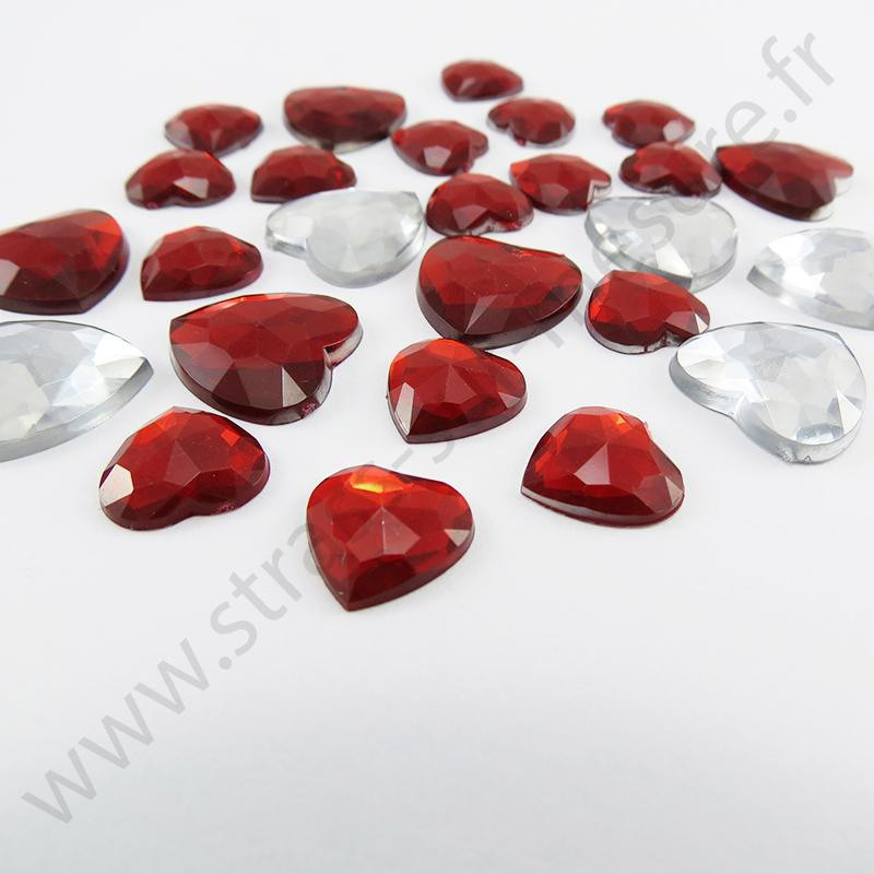 Strass acrylique coeur à facettes à coller - Diamant Rouge - 12mm et 15mm