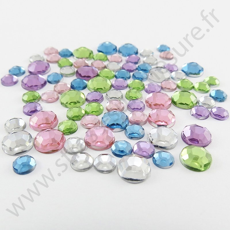 Strass acrylique rond à facettes à coller - Mix Pastel - 2mm à 7mm