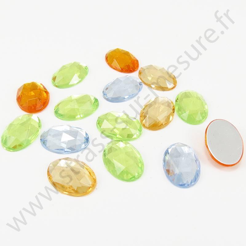 Strass acrylique ovale à facettes à coller - Mix Pastel - 14mm, 18mm