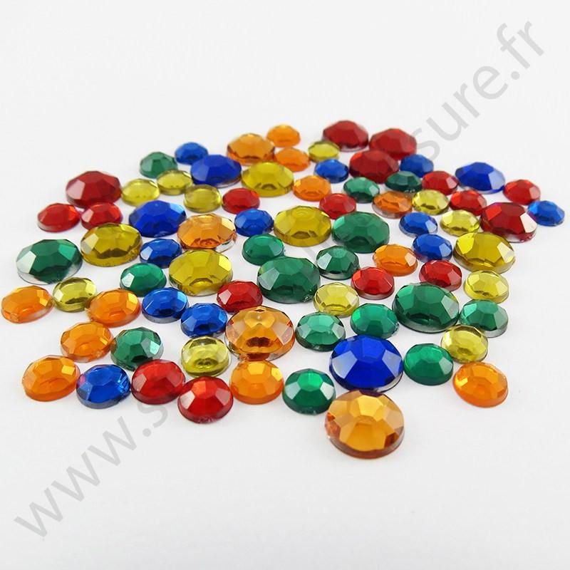 Strass acrylique rond à facettes à coller - Mix Automne - 2mm à 7mm