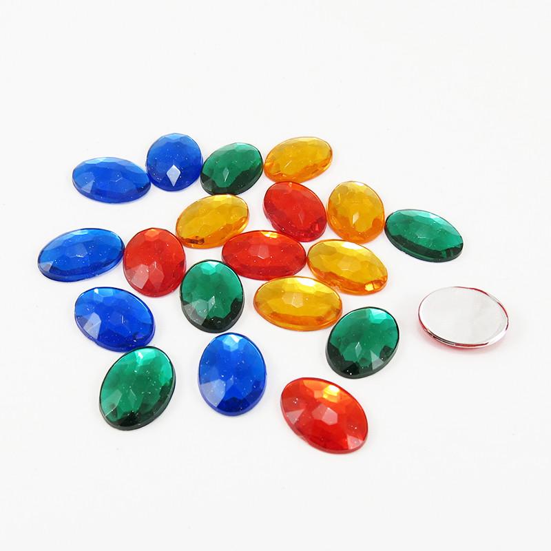 Strass acrylique ovale à facettes à coller - Mix Automne - 14mm, 18mm
