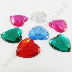 Strass acrylique cœur à facettes à coller - Multicolore - 18mm