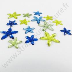 Strass acrylique fleur à facettes à coller - Multicolore - 11mm et 17mm