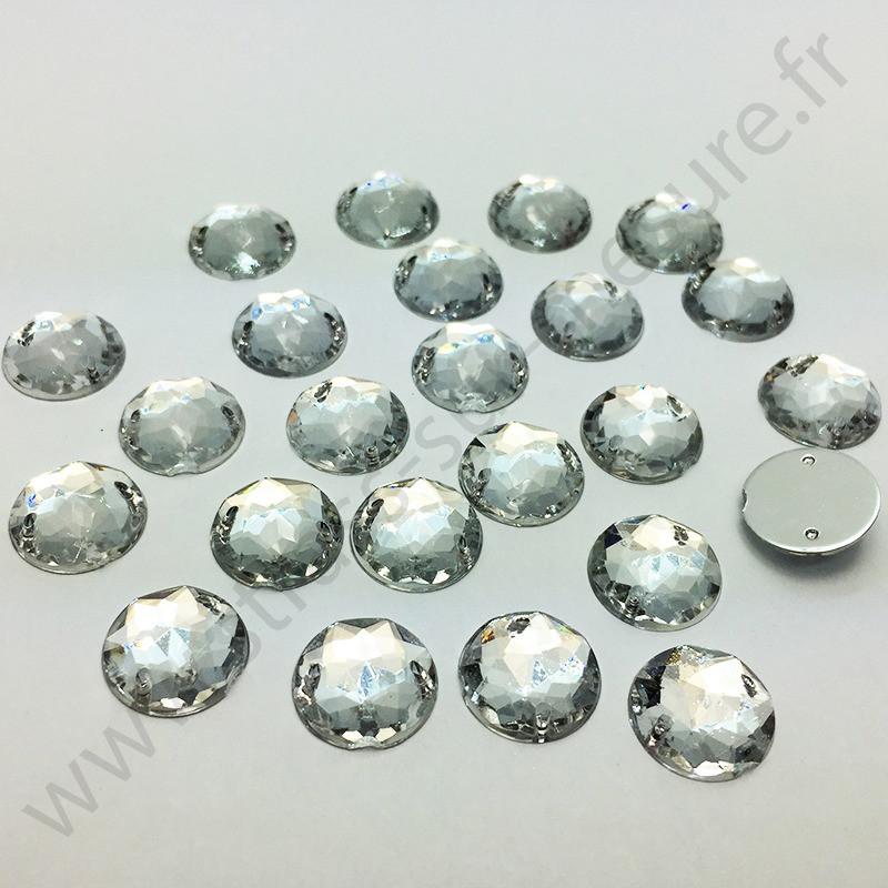 Strass acrylique multifacettes rond à coudre - Diamant - 16mm