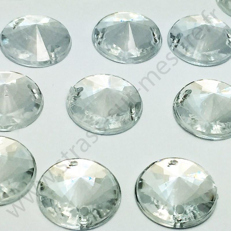 Strass acrylique pointu rond à coudre - Diamant - 14mm - détail