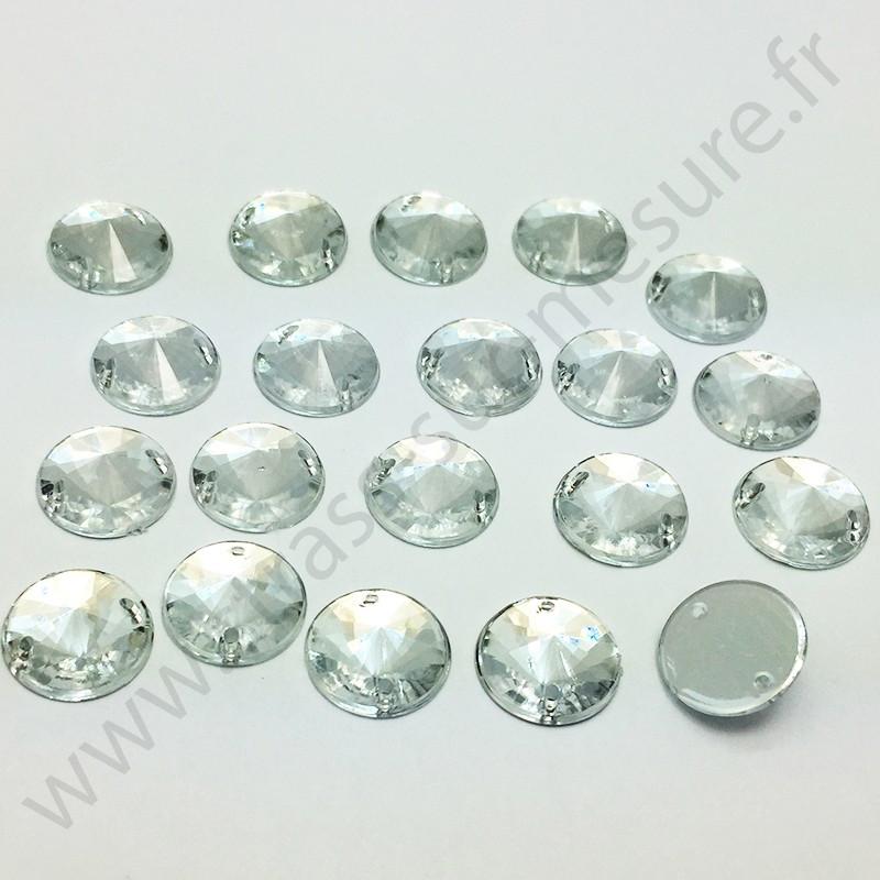 Strass acrylique pointu rond à coudre - Diamant - 14mm