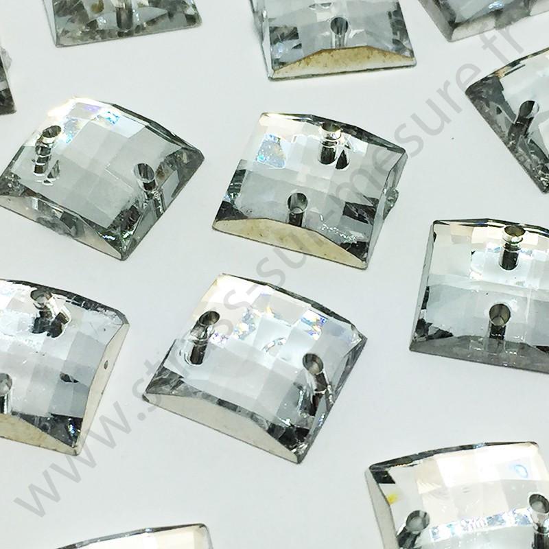 Strass acrylique carré quadrillage à coudre - Diamant - 14mm - détail
