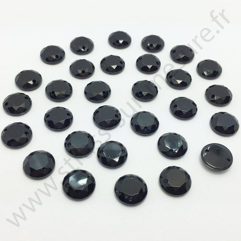 Strass acrylique rond à coudre à facettes - Noir - 6mm à 15mm