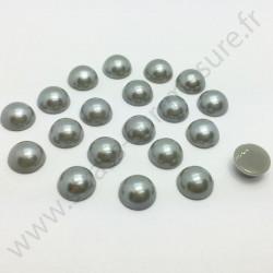 Demi-perle nacrée rond à coller - Gris - 5mm à 10mm