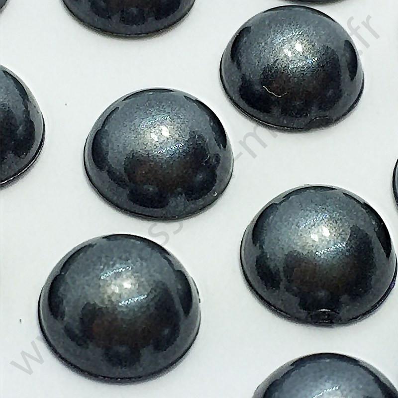 Demi-perle nacrée rond à coller - Noir nacré - 5mm à 10mm - détail