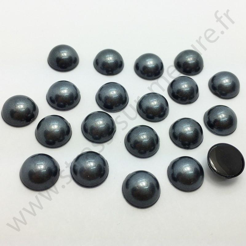 Demi-perle nacrée rond à coller - Noir nacré - 5mm à 10mm