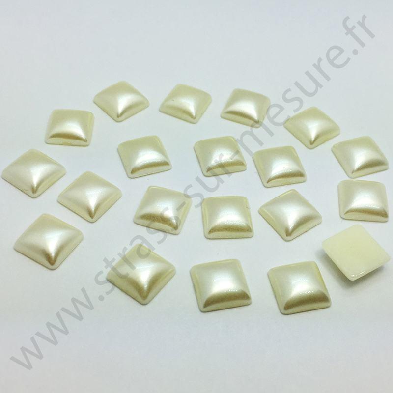 Demi-perle nacrée carré à coller - Ivoire nacré - 8mm, 10mm