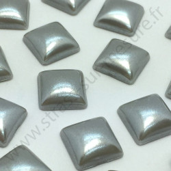 Demi-perle nacrée carré à coller - Gris nacré - 8mm, 10mm - détail