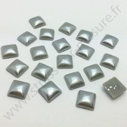 Demi-perle nacrée carré à coller - Gris nacré - 8mm, 10mm