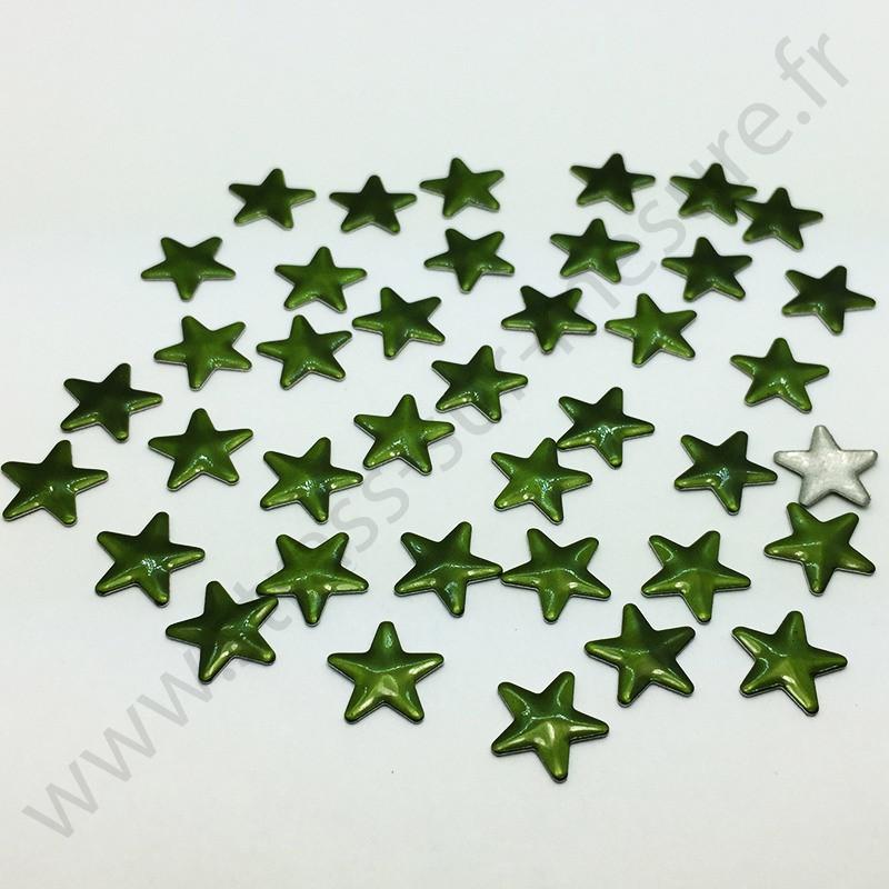 Strass thermocollant en métal étoile - Vert kaki - 10mm