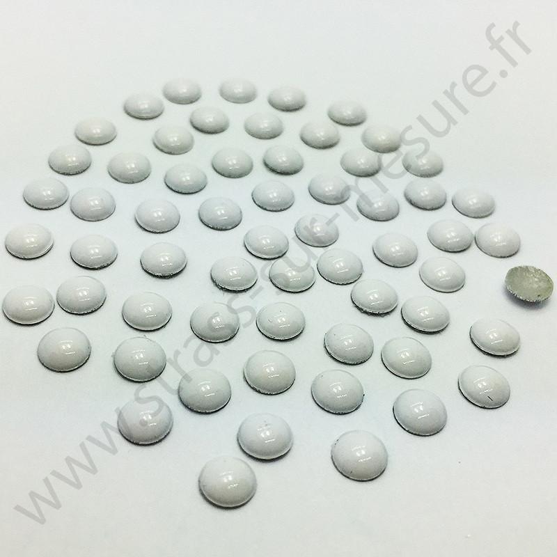 Strass thermocollant en métal rond bombé - Blanc - 2mm à 8mm
