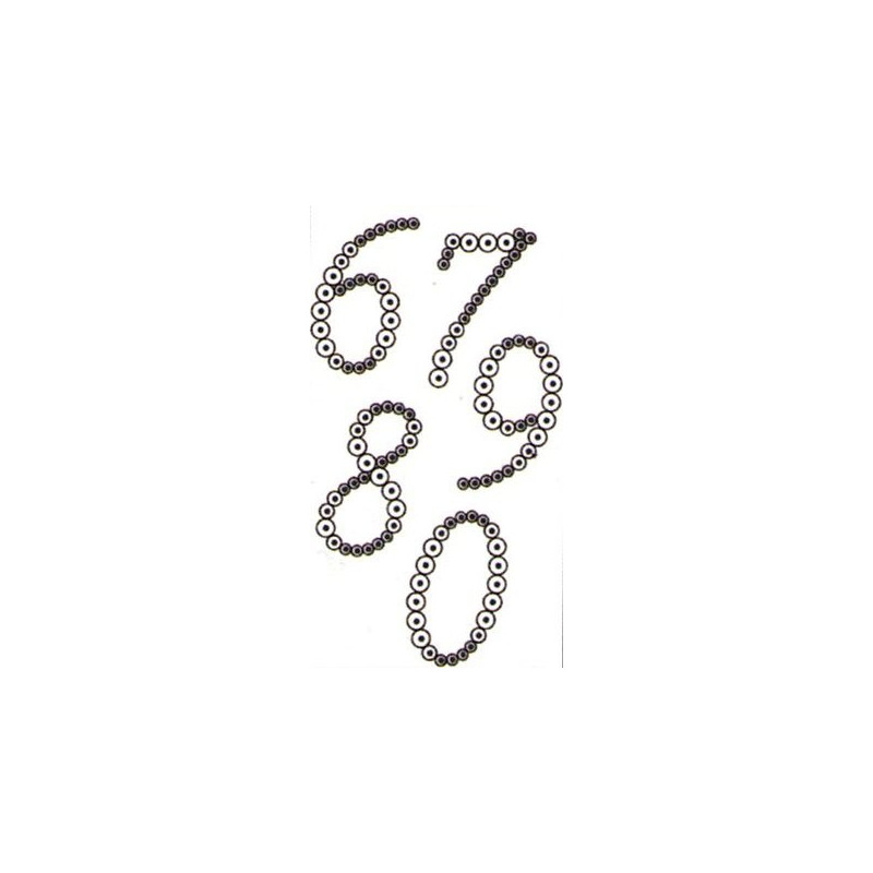 Pochoir chiffre pour strass - 6 7 8 9 0