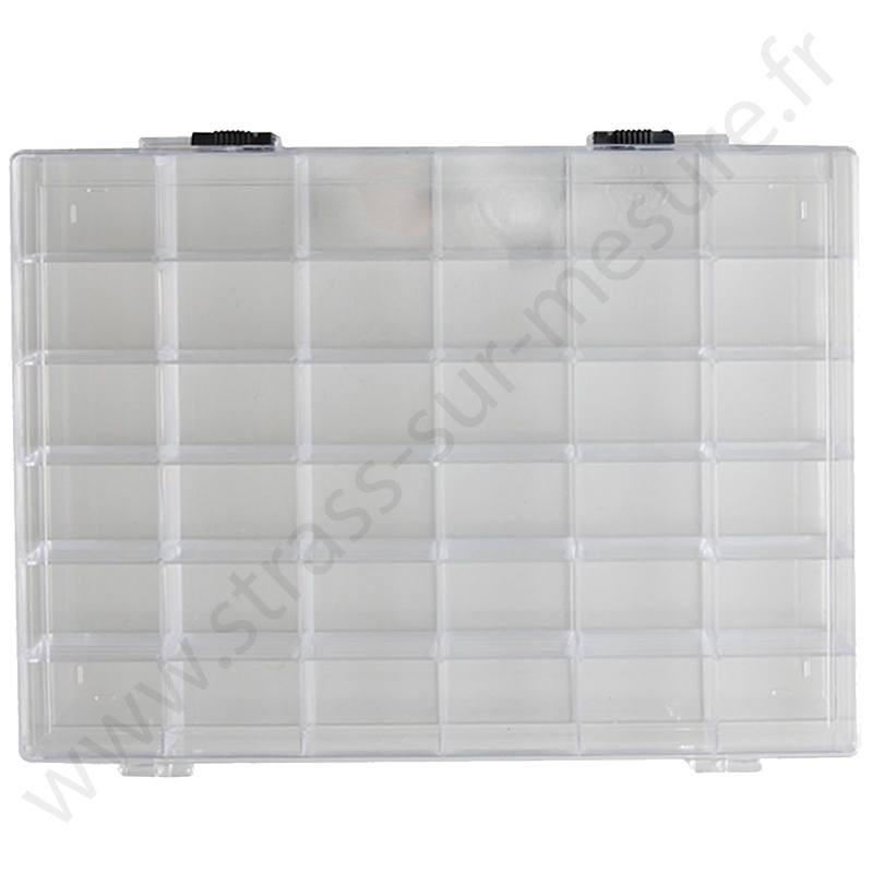 Boite de rangement rectangle transparent - 36 compartiments