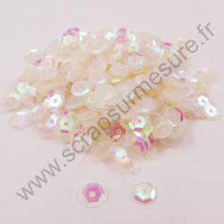 Sequin cup bombé - TRANSPARENT NACRE - 6mm, 8mm, 10mm