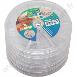 Boites de rangement rondes empilables - 72 compartiments