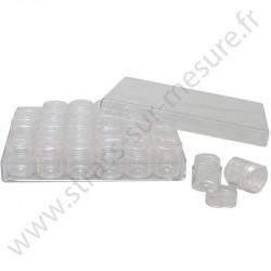 Coffret de rangement - 30 mini boites rondes - 2.5cm - détail