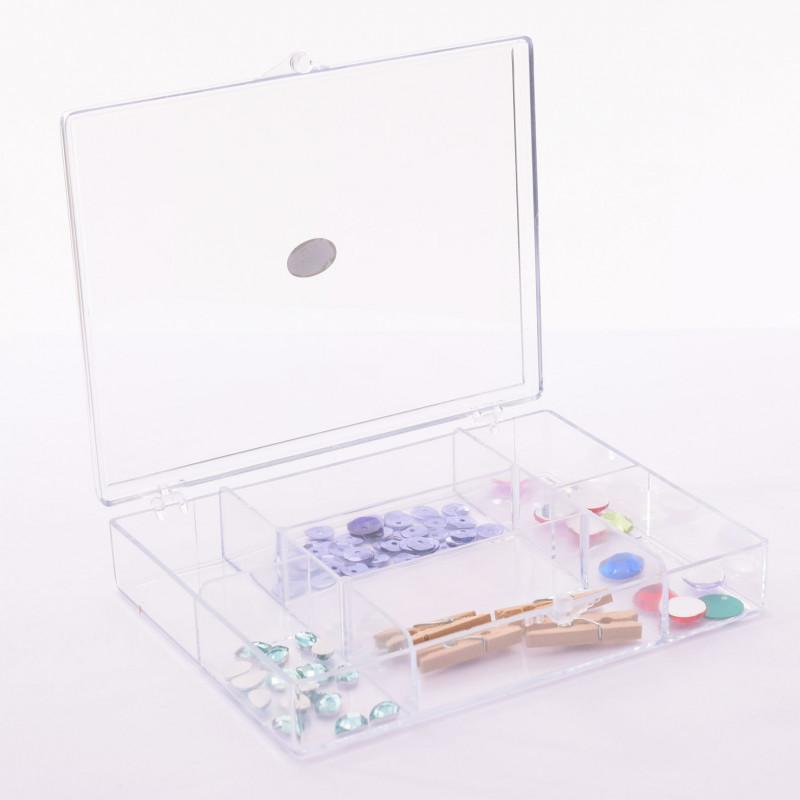 Boite transparente de rangement - 7 compartiments - détail