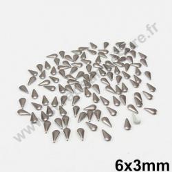 Strass thermocollant en métal goutte - Gris - 6mm