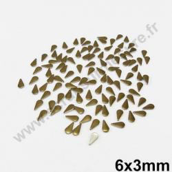 Strass thermocollant en métal goutte - Marron - 6mm