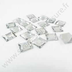 Strass acrylique carré à facettes à coller - Diamant - 12mm
