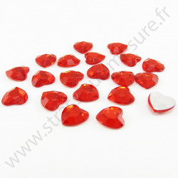 Strass acrylique cœur à facettes à coller - Rouge - 8mm ou 18mm