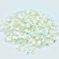 Strass en verre à coller phosphorescent - Blanc AB - 2mm à 5mm