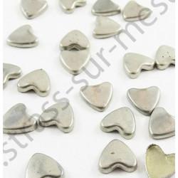 Strass thermocollant en métal cœur - Argent vieilli