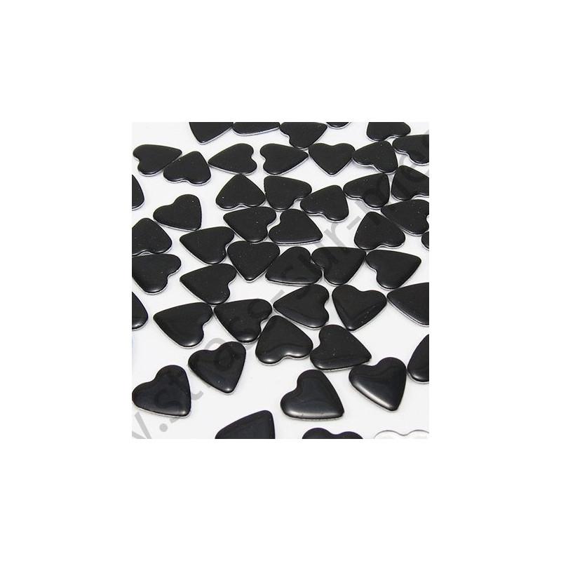Strass thermocollant en métal cœur - Noir