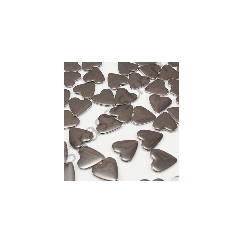 Strass thermocollant en métal cœur - Gris