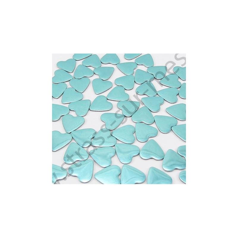 Strass thermocollant en métal cœur - Bleu lagon
