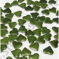 Strass thermocollant en métal cœur - Vert kaki
